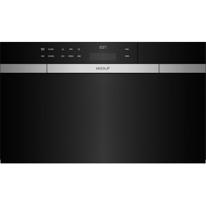 "Wolf30"" M Series Contemporary Black Glass Convection Steam Oven with Retractable Handle"