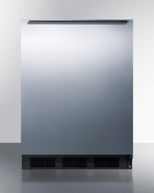 Built-in Undercounter Refrigerator-freezer for Residential Use, Cycle Defrost With A Stainless Steel Wrapped Door, Horizontal Handle, and Black Cabinet