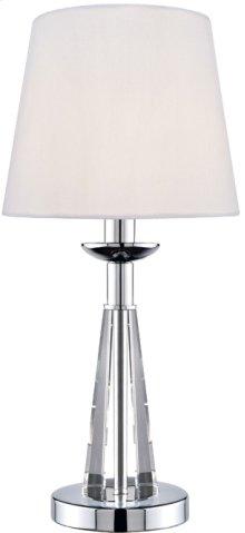 Table Lamp, Chrome/crystal Body/white Fabric Shd, E12 B 60w