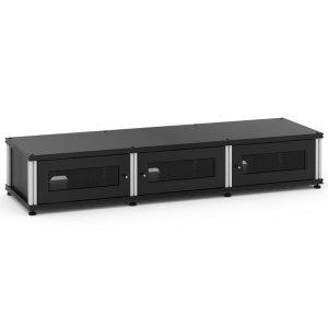 Salamander DesignsSynergy Solution 133, Triple-Width AV Cabinet, Black with Aluminum Posts