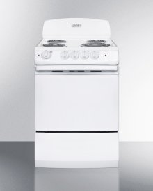 "24"" Wide Electric Range In White Finish With Coil Burners and Large 3 CU.FT. Oven"