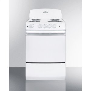 "Summit24"" Wide Electric Range In White Finish With Coil Burners and Large 3 CU.FT. Oven"