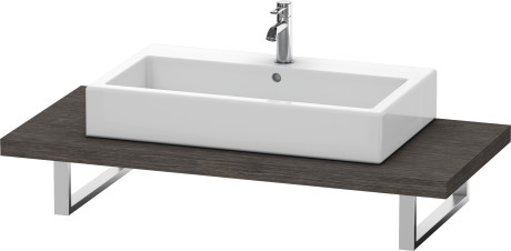 Console For Above-counter Basin And Vanity Basin, Brushed Dark Oak (real Wood Veneer)