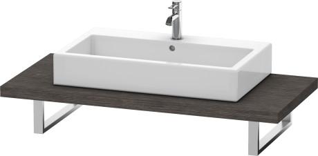 Console For Above-counter Basin And Vanity Basin, Brushed Dark Oak (real Wood Veneer)