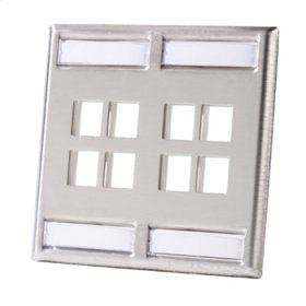 Dual gang stainless steel faceplate, holds eight Keystone jacks or modules