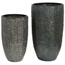 Industrial Stamped  Set of Two  20in & 11in Ht. Metal Vases