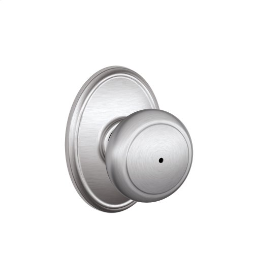 Andover Knob with Wakefield Style trim Bed & Bath Lock - Satin Chrome