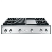 """GE Monogram® 48"""" Professional Gas Rangetop with 4 Burners, Grill, and Griddle( Liquid Propane)"""