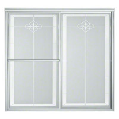 "Deluxe Sliding Bath Door - Height 56-1/4"", Max. Opening 59-3/8"" - Silver with Templar Glass Pattern"