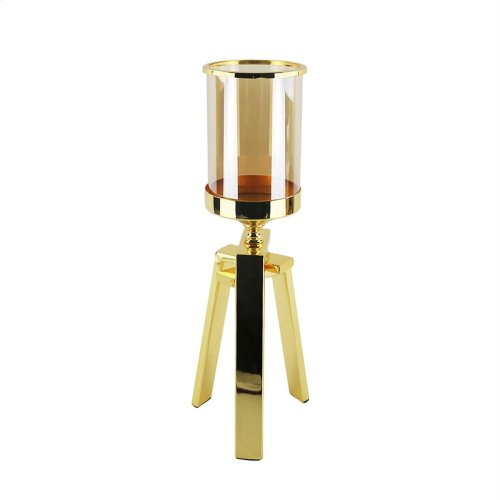 Gold & Glass Tripod Candle Holder 15""
