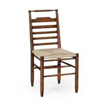 Dark Oak Ladder Back Country Chair with Rush Seat (Side)