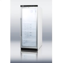 Commercial glass door beverage merchandiser with 11 cu.ft. capacity and a digital thermostat