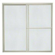 """Deluxe Sliding Bath Door - Height 56-1/4"""", Max. Opening 59-3/8"""" - Nickel with Rain Glass Texture"""