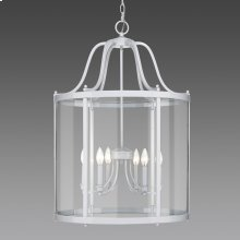 Payton 6 Light Pendant in White with Clear Glass