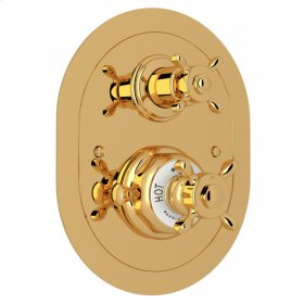 English Gold Perrin & Rowe Edwardian Era Oval Thermostatic Trim Plate With Volume Control with Edwardian Cross Handle