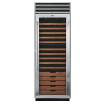"30"" Full-Height Wine Cellar, Clear Glass, Right Hinge/Left Handle"