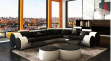 Divani Casa 3087 - Modern Black and White Bonded Leather Sectional Sofa & Ottomans