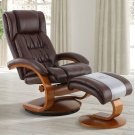 Whisky (Brown) Breathable Air Leather with Walnut Finish - Reclines - Swivels - Lumbar Support - Angled Ottoman - Quality Breathable Air Leather Product Image