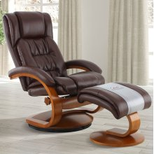 Whisky (Brown) Breathable Air Leather with Walnut Finish - Reclines - Swivels - Lumbar Support - Angled Ottoman - Quality Breathable Air Leather