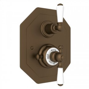 English Bronze Perrin & Rowe Edwardian Octagonal Concealed Thermostatic Trim With Volume Control with Metal Lever