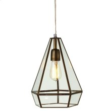 Gold Geo Lantern Pendant. 40W Max. Plug-in with Hard Wire Kit Included.