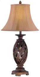 Table Lamp - Atn. Bronze/swirl Pleated Shade, E27 Cfl 23w Product Image