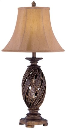 Table Lamp - Atn. Bronze/swirl Pleated Shade, E27 Cfl 23w