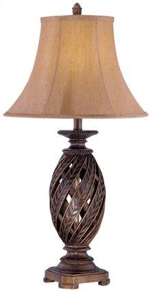 Table Lamp - Atn. Bronze/swirl Pleated Shade, E27 Cfl 23w