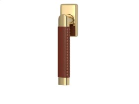 Oval Angle Stitch Out Combination Leather In Chestnut And Polished Brass