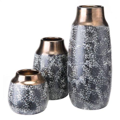 Stoneware Metal Vase Sm Metal & Blk Ash