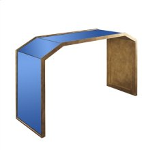 Blue Tinted Mirror Console Table with Gold Leaf Accents