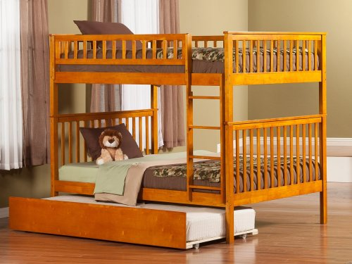 Woodland Bunk Bed Full over Full with Urban Trundle Bed in Caramel Latte