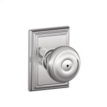 Georgian Knob with Addison trim Bed & Bath Lock - Bright Chrome