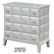 SoHo 4 Drawer Pyramid Front Silver Leaf Chest