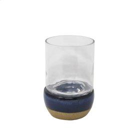 Blue/beige Hurricane Candle Holder