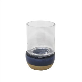Blue/beige Hurricane Candle Holder