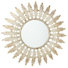 Distressed Ivory & Gold Leaf Wall Mirror.
