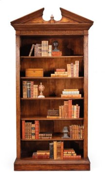 Walnut Open Bookcase for Pediment