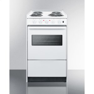 """Summit20"""" Wide Slide-in Electric Range In White With Oven Window, Light, and Lower Storage Compartment; Replaces Wem115r/wem110wrt"""