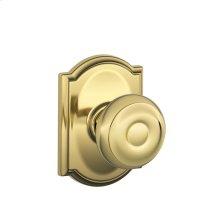 Georgian Knob with Camelot trim Hall & Closet Lock - Bright Brass