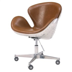 Duval PU Swivel Office Chair Aluminum Frame, Distressed Caramel