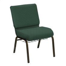 Wellington Aspen Upholstered Church Chair with Book Basket - Gold Vein Frame