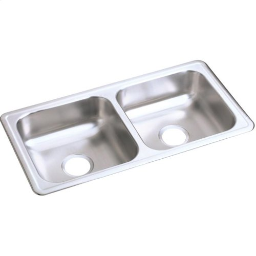 """Dayton Stainless Steel 33"""" x 17"""" x 6"""", Equal Double Bowl Drop-in Sink"""