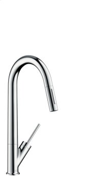 Chrome Single lever kitchen mixer with pull-out spray