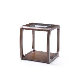 Square End Table-glass Top W/dark Walnut Finish-rta