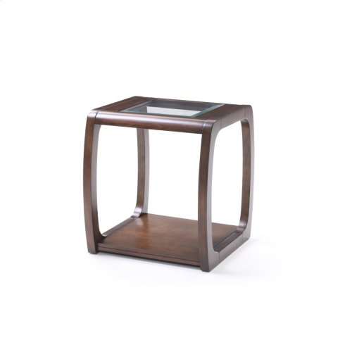 Square End Table-glass Top W/dark Walnut Finish-rta