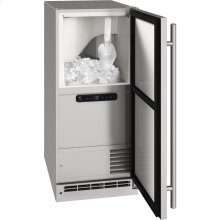 """Outdoor Collection 15"""" Clear Ice Machine With Stainless Solid Finish and Field Reversible Door Swing, Pump Included (115 Volts / 60 Hz)"""