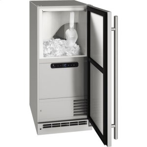 """U-Line Outdoor Collection 15"""" Clear Ice Machine With Stainless Solid Finish And Field Reversible Door Swing, Pump Included (115 Volts / 60 Hz)"""