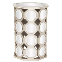 Silver Leaf Table with Octagonal Mirror Accents and Mirrored Top - Tall