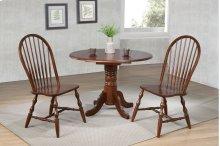 "DLU-ADW4242-C30-CT3PC  3 Piece 42"" Round Drop Leaf Dining Set  Chestnut  Spindleback Chairs"